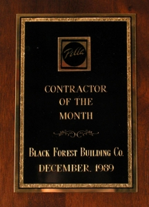 Pella Contractor of The Month - December 1989
