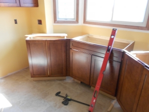 New cabinetry is installed