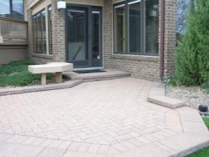 Finished addition with brick patio
