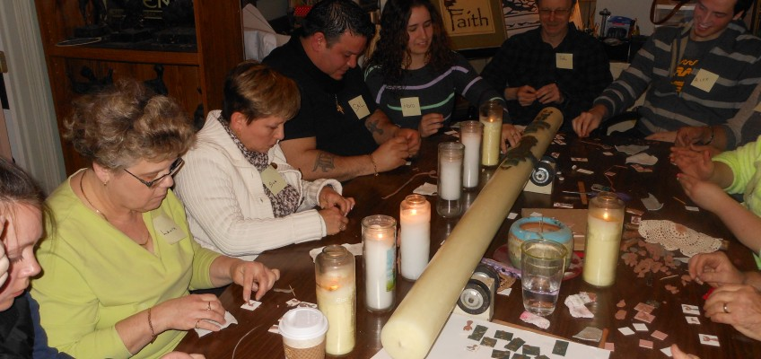 St. Margaret of Scotland Makes Their Easter Vigil Candle