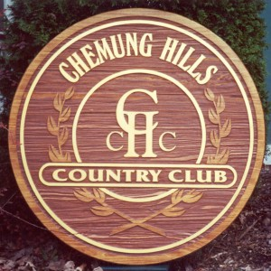 Sand carved cedar sign
